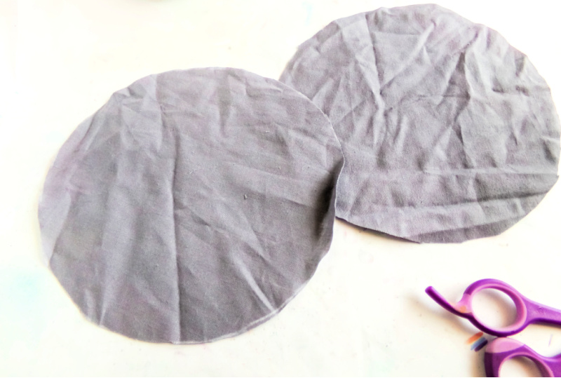 Cut your fabric to about a 5-inch by 5-inch square or a 6-inch diameter circle.