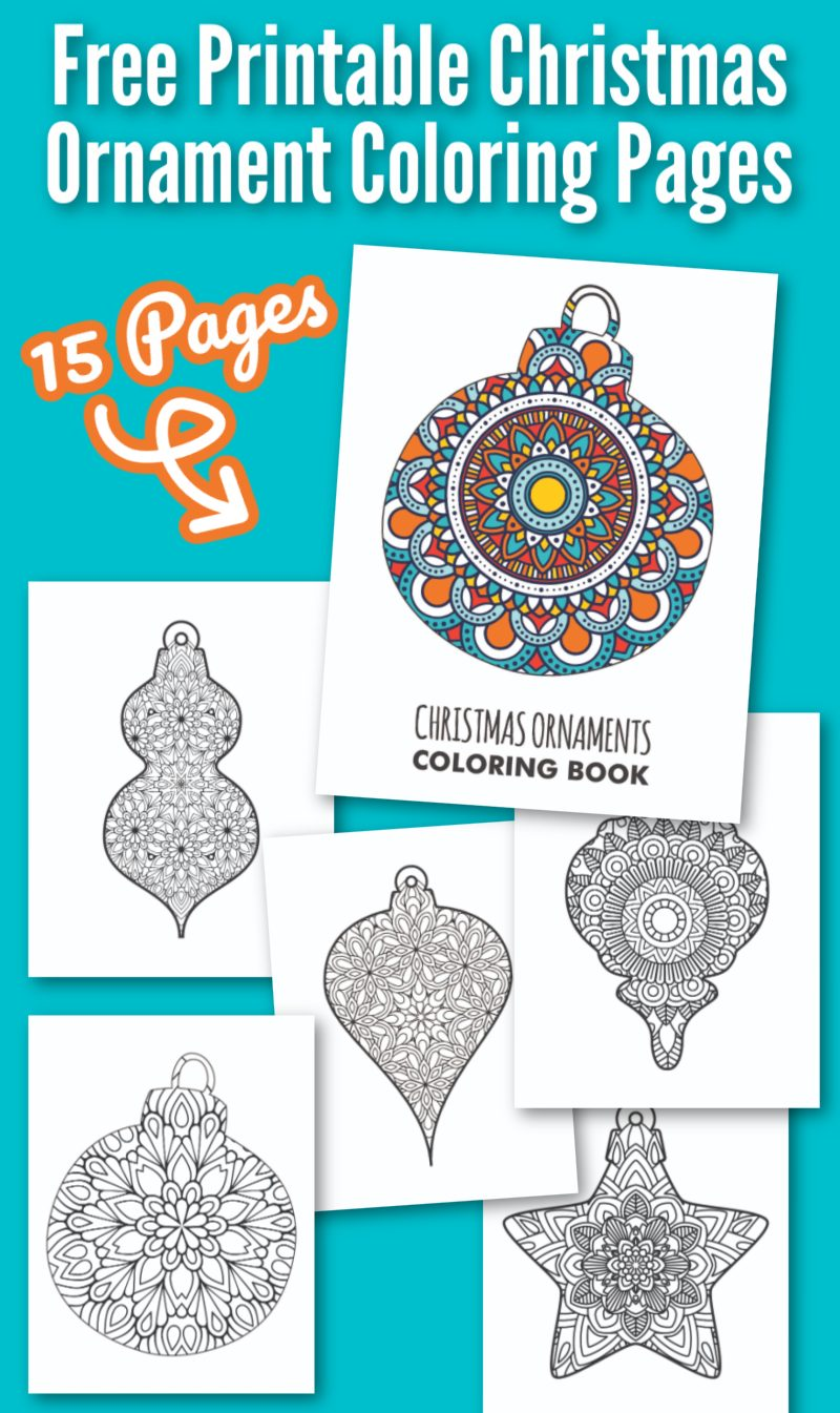 A collage of Christmas ornament coloring pages for adults and teens on a teal background.