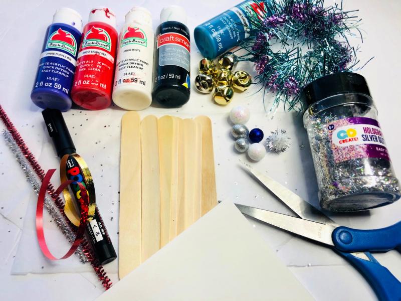 New Year's Eve Noisemaker craft supplies.