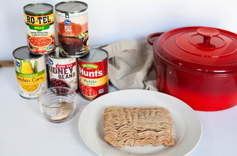 Weight Watchers turkey chili ingredients.