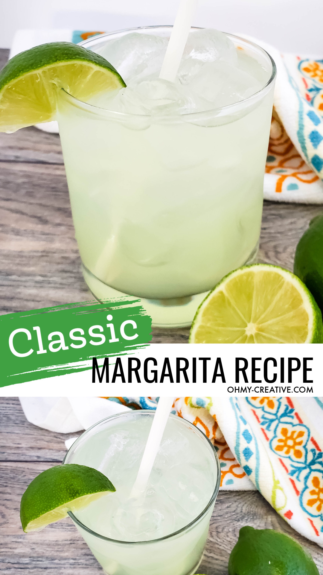 A tasty classic margarita in a tumbler glass with straw garnished with fresh limes. This tasty drink sits on a wood table with a decorative napkin in the background.