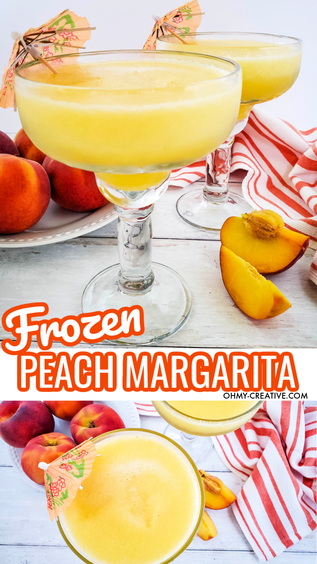 These two frozen peach margaritas are garnished with fun drink umbrellas. They are sitting on a white wood background with a stripped hand towel and sliced peaches.