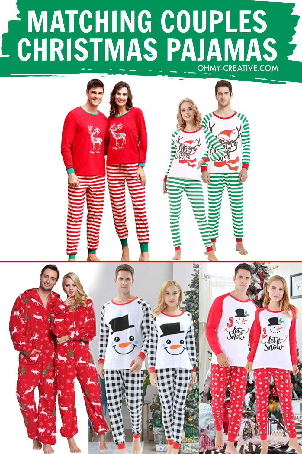 A collage of couples in different styles of matching Christmas Pajamas. Lots of styles to choose from.