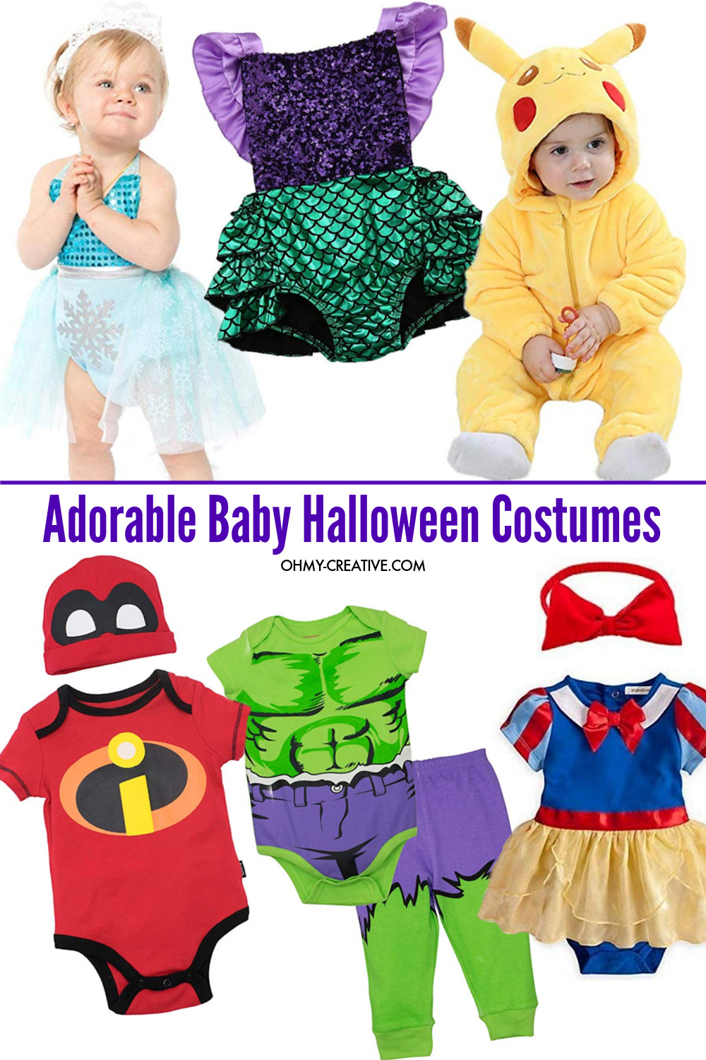 Collage of baby Halloween costume ideas that will look so cute on your little one!