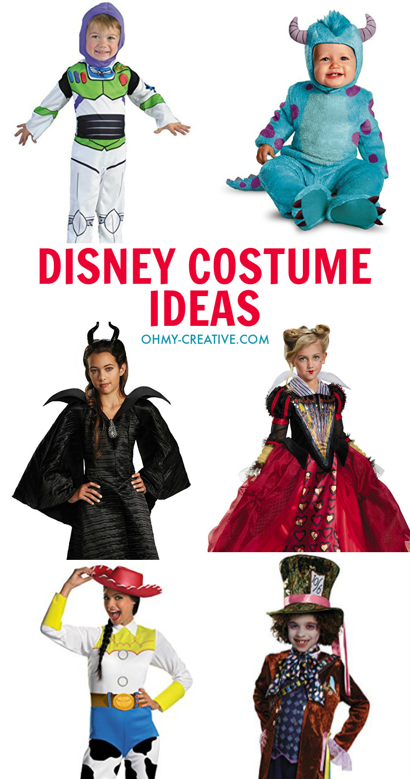 Collage of Disney Halloween Costume Ideas for the Family.