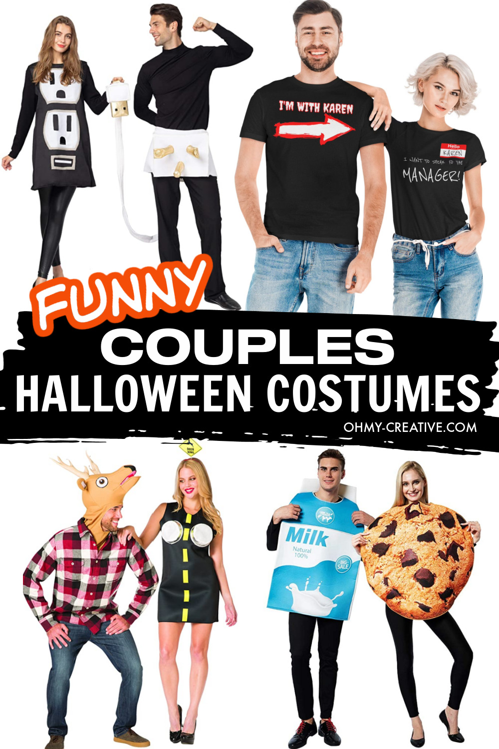 A collage of funny Halloween costumes for couples including milk and cookies costume, plug and socket costume, deer in head lights costume and more!