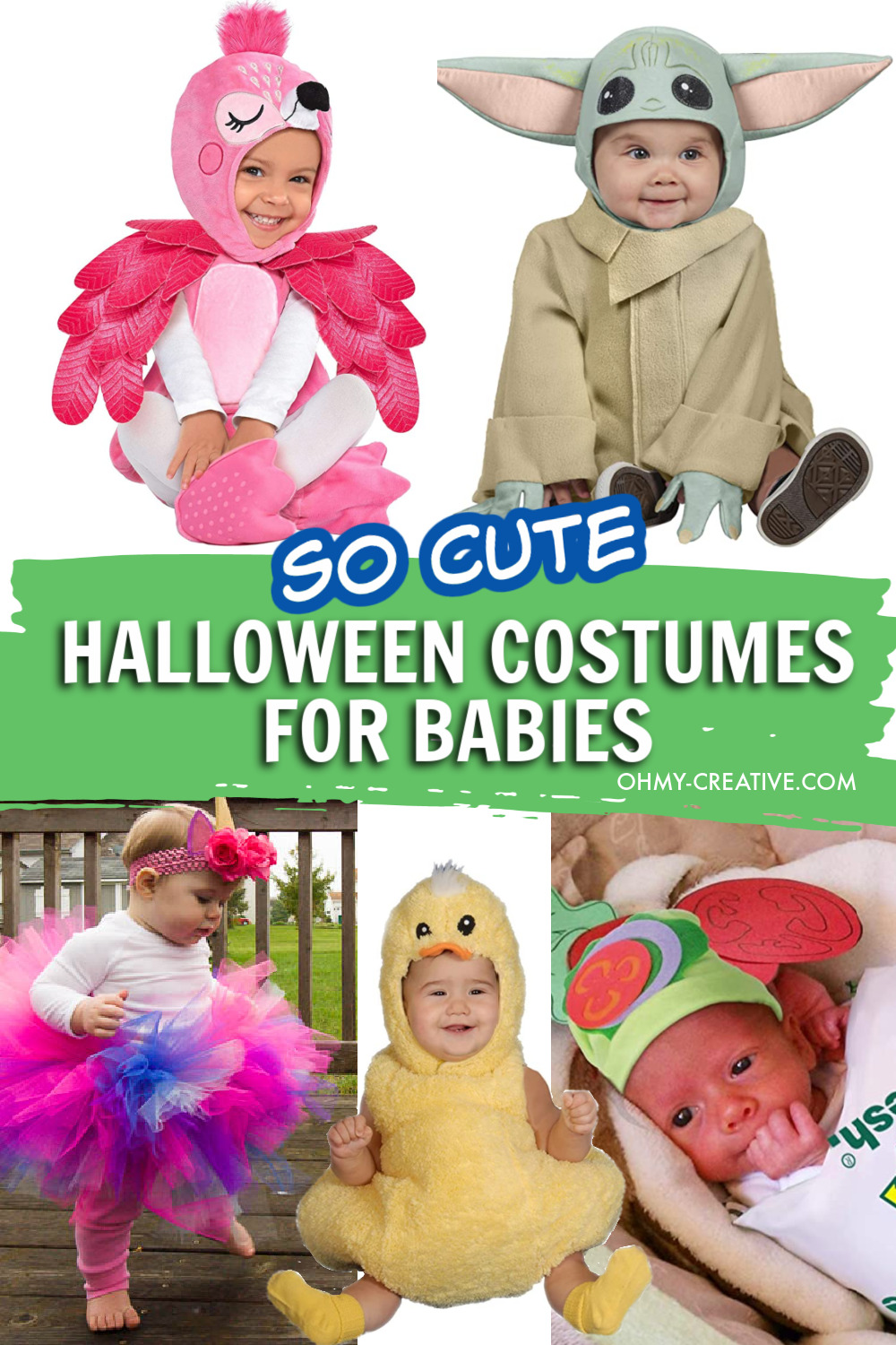 A collage of cute Halloween Costumes for Babies