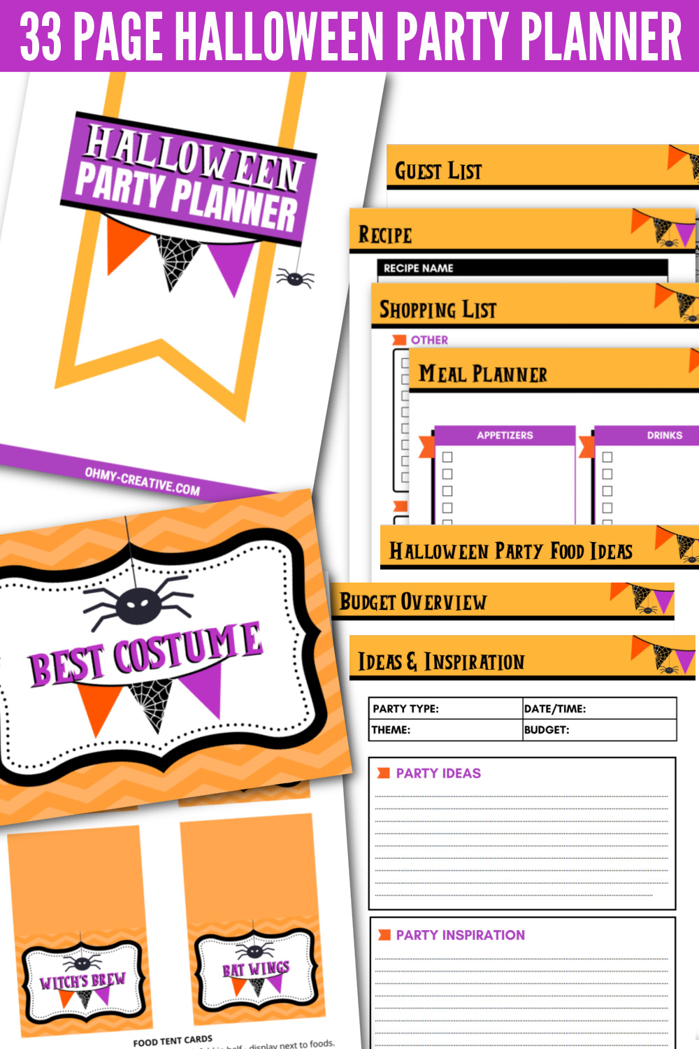 Halloween Party Planner Printable sheets done in orange, black and purple.