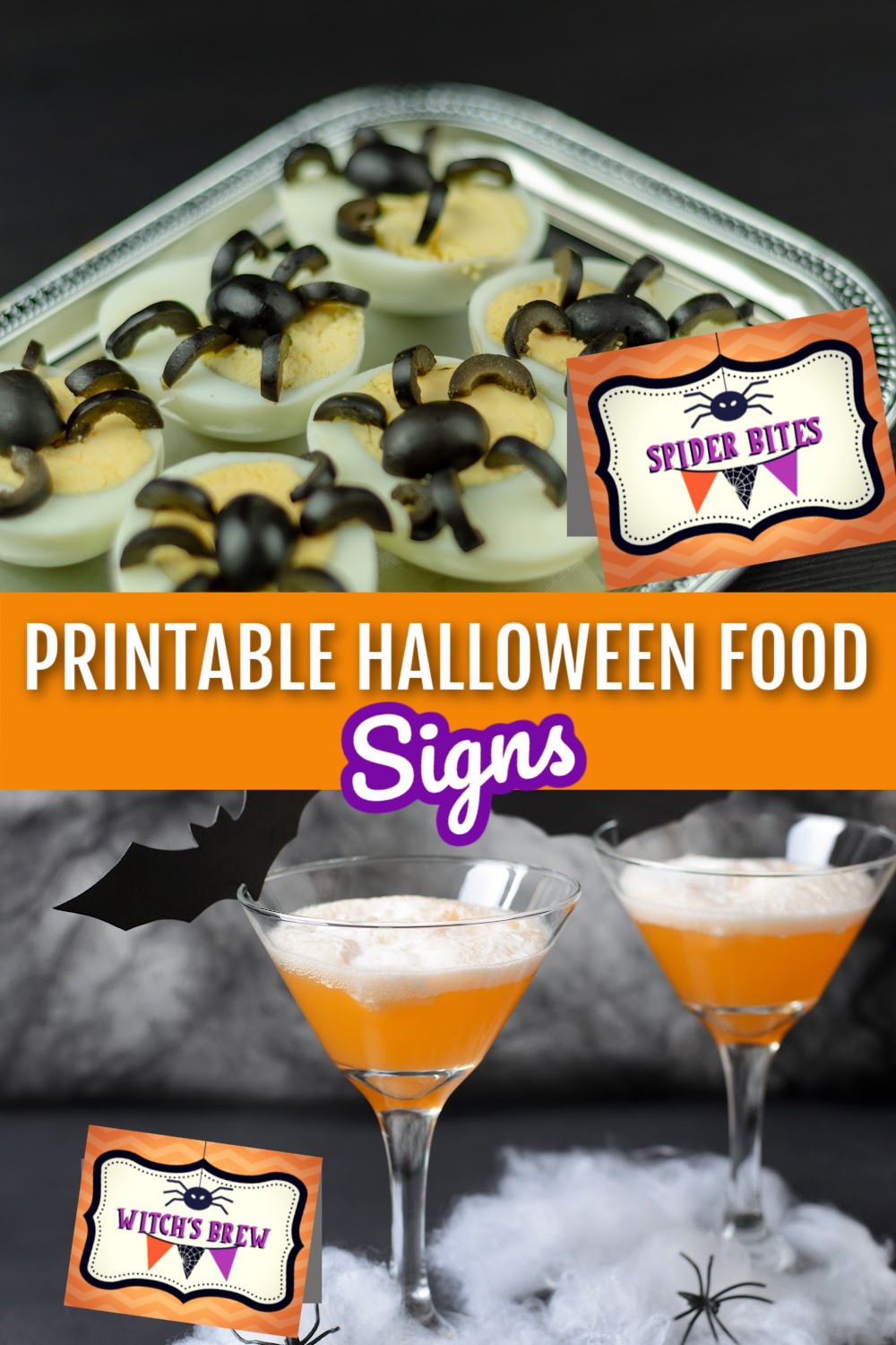Spider deviled eggs with Spider Bites Halloween food tent card and Witches Brew food sign with two orange martinis.