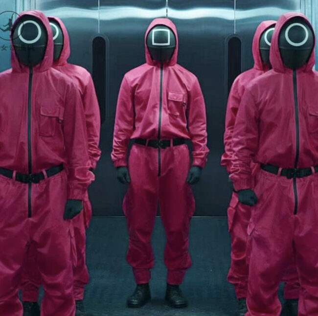 Squid Game Guards Costume with men dressed in red jumpsuits.