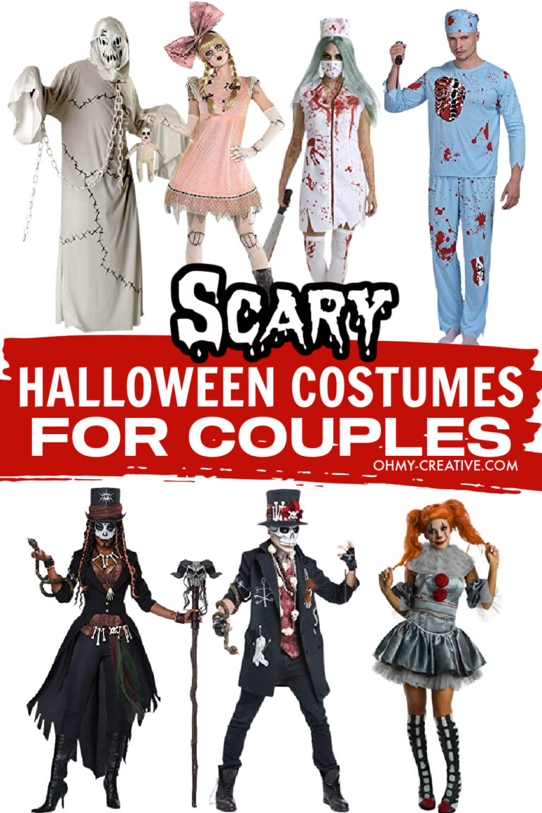 A collage of scary Halloween costumes for couples.